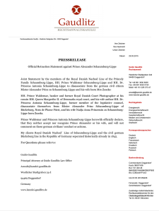 Official Retraction Statement againt Alexander Schaumburg-Lippe